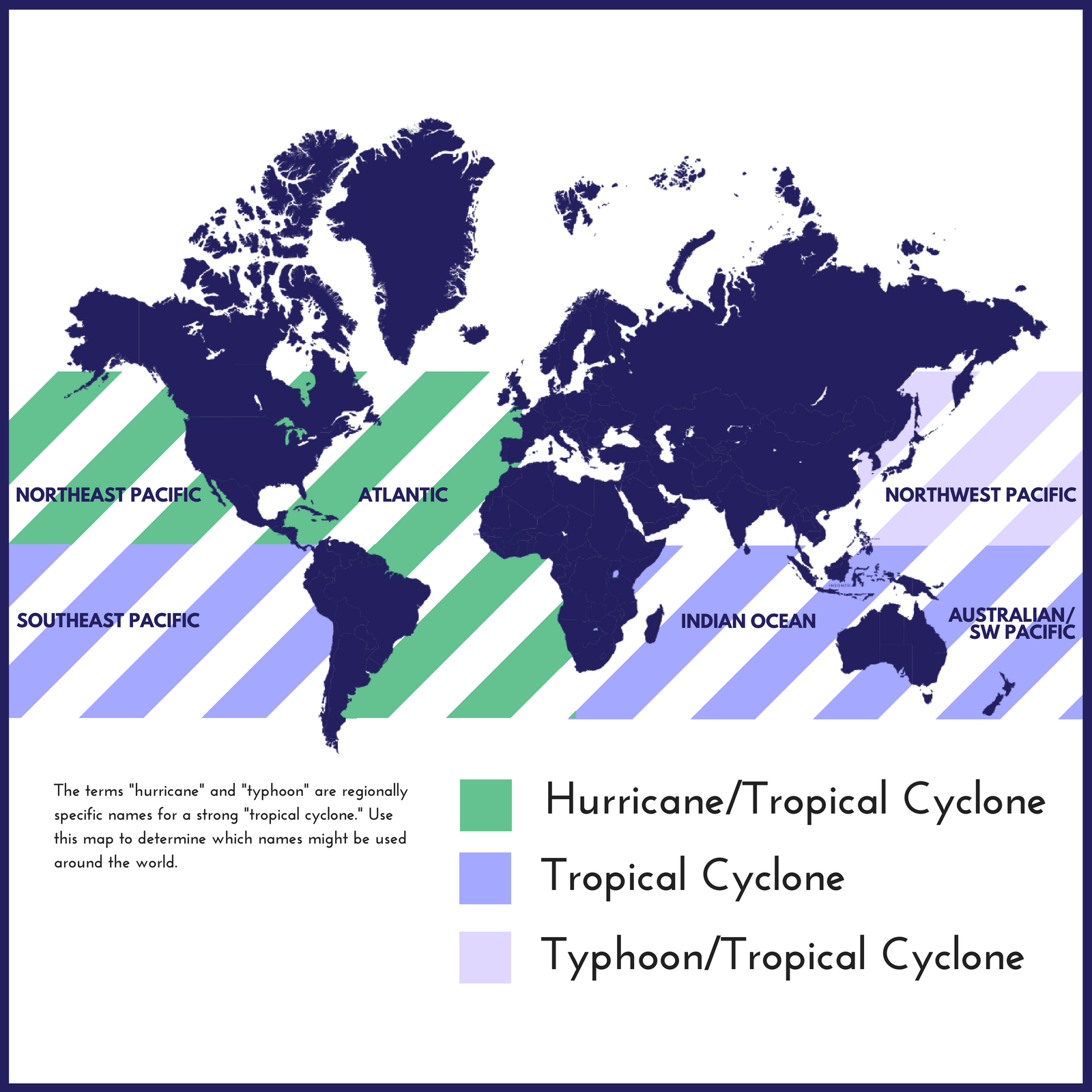 Hurricane season - world map showing which regions use the terms hurricane, tropical cyclone, and typhoon.